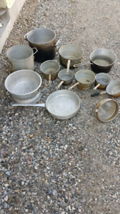 Quantity of well used stock pots and other items