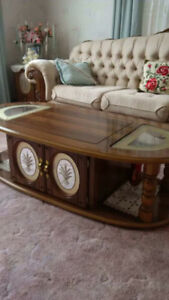 Solid wood coffee tables with  glass inserts