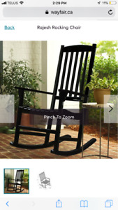 2 black rocking chairs for front porch