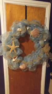 Large Seashell teal Toul and burlap ribbon wreath $5