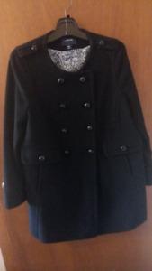 Keep warm & stylish in Land's End Black Peacoat.  SZ P12