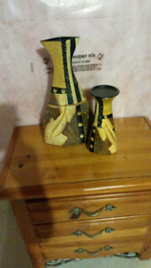 Set of 2 Decor Accents Vase and Candle Holder  MUST GO ASAP!