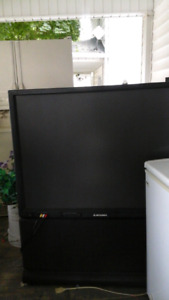 Mitsubishi 45 inch tv stands on the  floor    75 obo