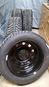 2017 - 4 Brand new goodyear winter tires + rims 215/55 R17!!!