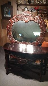 Hand Crafted Mahogany console table with mirror. Imported