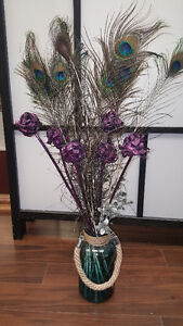 Vase with Plastic Flowers and Feathers Moose Jaw Regina Area image 1