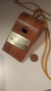 Vintage Teak Oversized Working Wooden Whistle