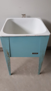 Retro Crane laundry tub with original blue stand - Good bar tub