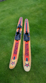 Retro wooden waterskiiing skis. VETEKA SPORTS SPRITE Wooden