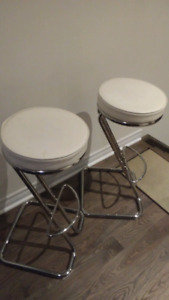 White leather bar stools with metal legs - a pair