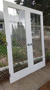 30 by 80 White Double French doors solid wood