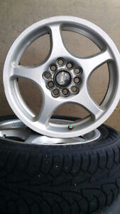 Hankook I Pike Winter Tires 205/60/R15 91T and four ASA Wheels