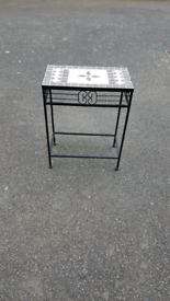Mosaic Occasional mosaic table; black metal legs