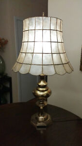 Brass Table Lamp with Shell Shade