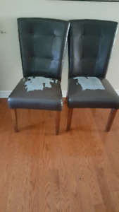 6 bonded leather chairs (need new fabric)