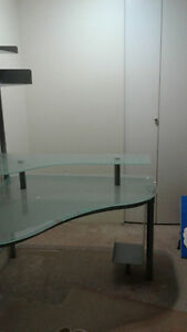 2 Glass top computer desks with shelves above $125 ea obo
