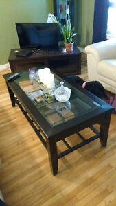 Glass top coffee table with shelf