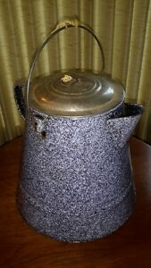 Large Vintage Gray speckled Enamel Camping Coffee Pot