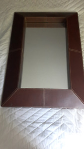 """Bombay"" Dimensional Leather Mirror"