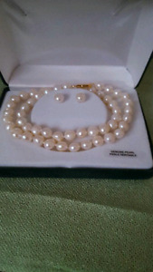 Genuine Pearls Necklace and Earrings