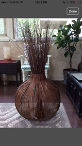 Large Wicker Vase with Twigs