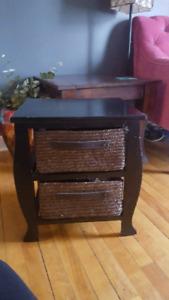 Wicker basket nightstand/ side table/ desk storage