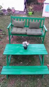 Banc extérieur & table de pique nique pour enfants/Outdoor bench