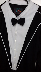 adult tuxedo onesie pajama / costume with attached feet size med