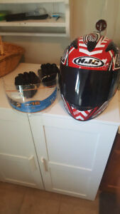 custom HJC motorcycle helmet and gloves
