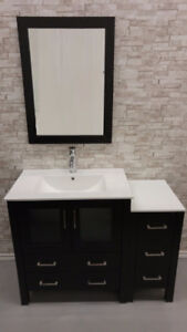 "42"" Espresso Bathroom Vanity Ceramic Top"