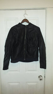Old Navy Black faux Leather bomber  jacket