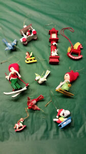 Lot of hand made vintage wooden Christmas Tree Ornaments