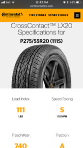 New Continental 275/55R20 Tires