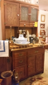 Antique Hoosier with ice box and side table