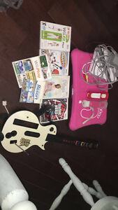 Wii+fit board+guitar+controllers