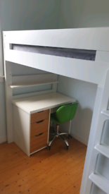 Cabin bed with drawers and built in wardrobe