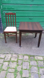 Nice Table on Wheels & 4 Solid Antic Chairs