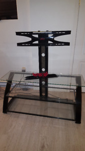 Glass Z-Line Tv stand, 3 Tiers, Adjustable. Fits up to 72inch Tv