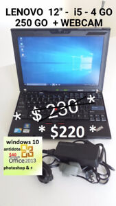 LAPTOP LENOVO  PERFORMANT   i5 - 4Go - 250Go + WEBCAM