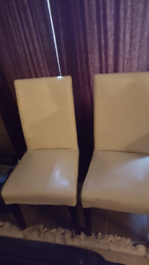 White / Cream Leather Parsons Dining Chairs (4) from Structube
