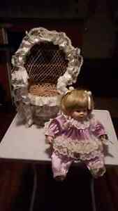 Porcelain doll with wicker chair Windsor Region Ontario image 2