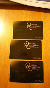 OTTAWA ATHLETIC CLUB GIFT CARDS - OAC  $90 EACH
