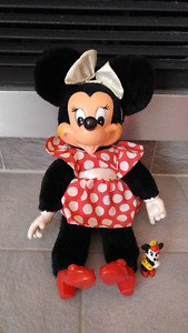 Disney Minnie Mouse toutou 16'' plush + figure Vintage 1980's