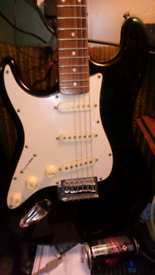 Westfield left handed electric guitar with stand and case