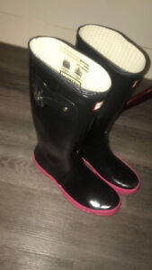 ladies black and pink Hunter Tall Boots
