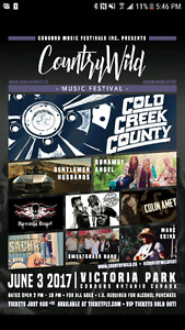 2 tickets to country wild music festival