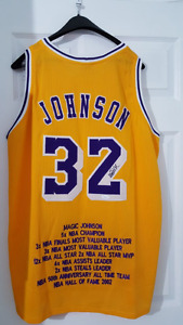 Magic Johnson signed stat Lakers jersey
