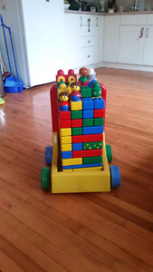 Baby lego set with pull cart