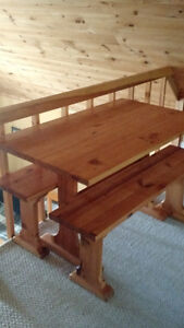 PINE TRESEL TABLE WITH BENCHES Kingston Kingston Area image 3