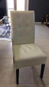 Off white faux leather dining room chair